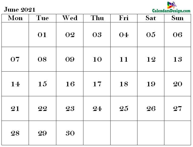 2021 June Calendar Holidays in Word