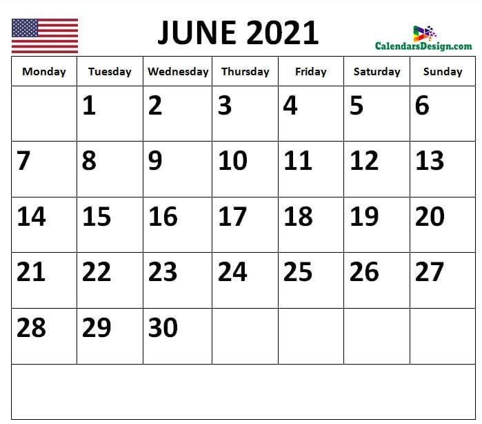 2021 June Calendar US