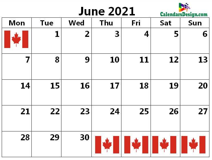 2021 June Canada Calendar