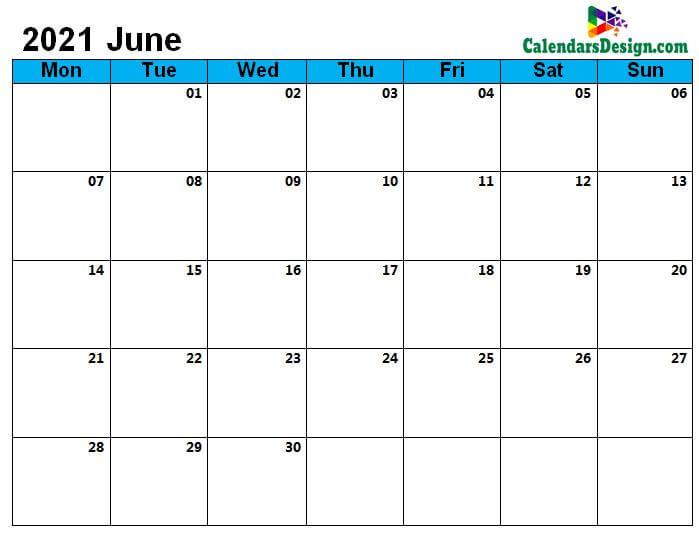 2021 June Printable Calendar PDF