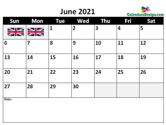 2021 June UK Calendar