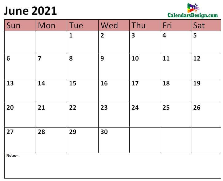 2021 June calendar template