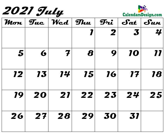Blank Calendar for July 2021