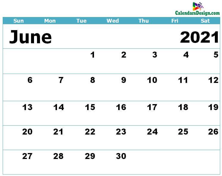 Blank Calendar for June 2021