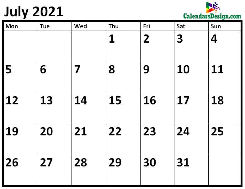 Blank July 2021 Calendar