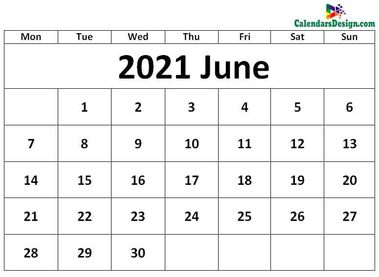 Blank June 2021 Calendar