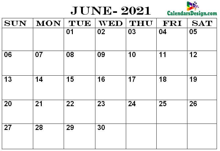 Calendar Printable June 2021
