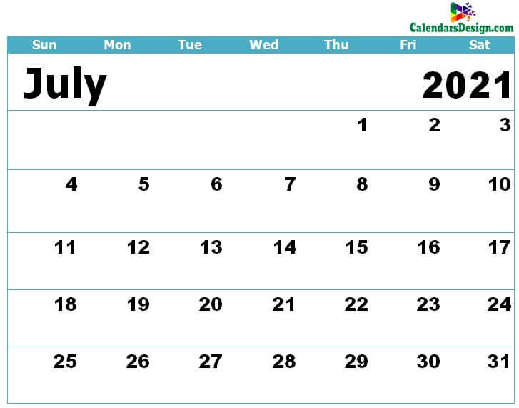 Calendar for July 2021 Excel to Print