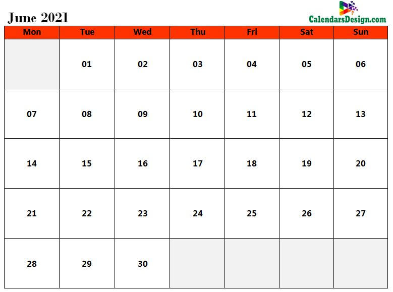 Calendar for June 2021 Excel to Print