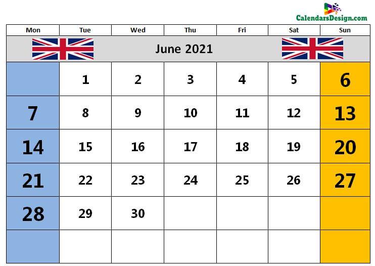 Calendar for June 2021 UK