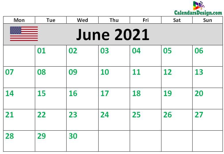 Calendar for June 2021 US