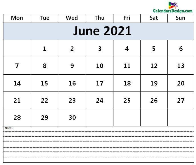 Calendar for June 2021
