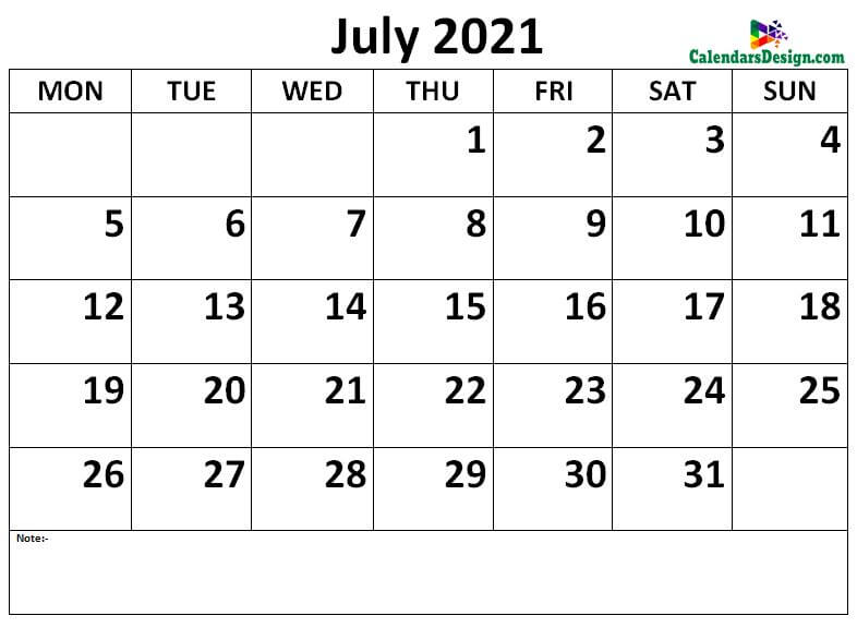 Calendar of July 2021