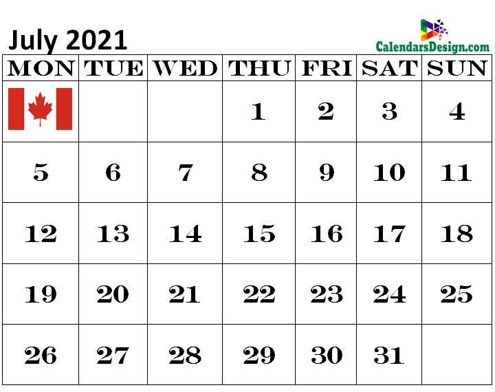 Canada July 2021 Calendar