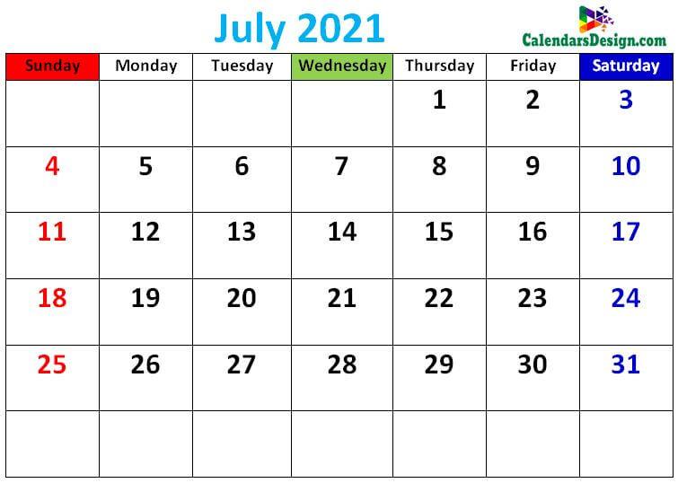 Cute July 2021 calendars