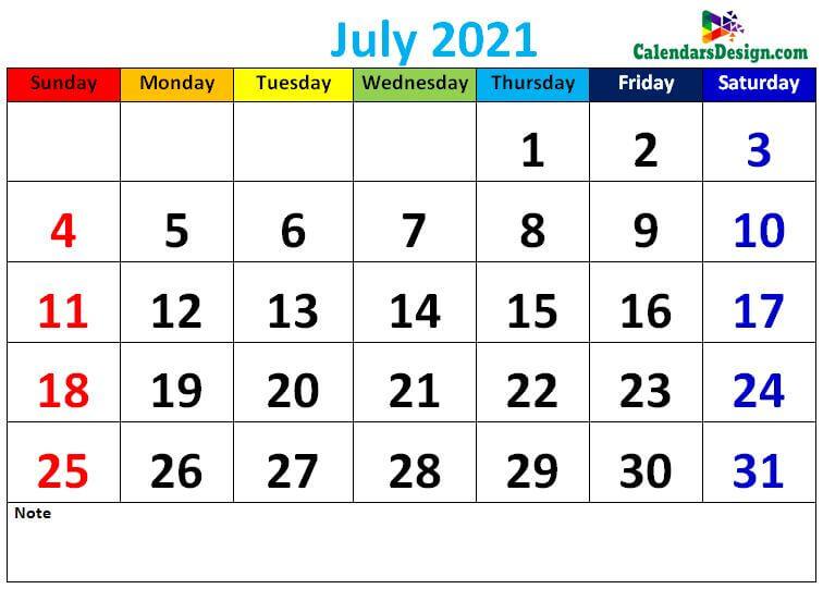 Decorative July 2021 Cute Calendar
