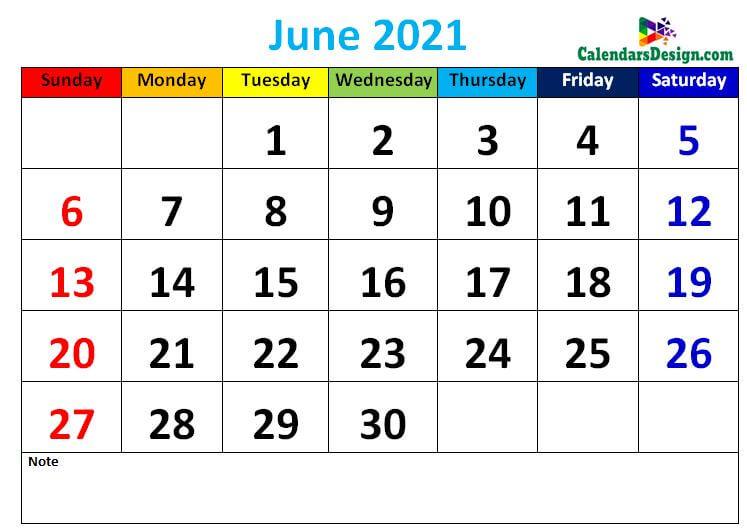 Decorative June 2021 Cute Calendar