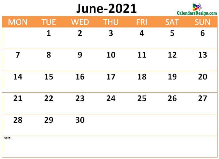 Download June 2021 calendar online