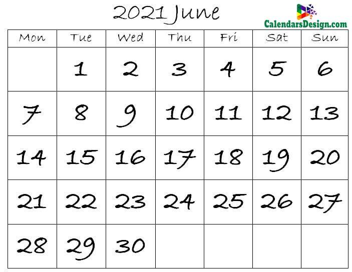 Editable June 2021 Calendar Blank Template