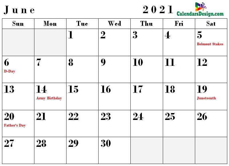 Holidays Calendar for June 2021