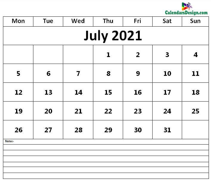 Jul 2021 Calendar