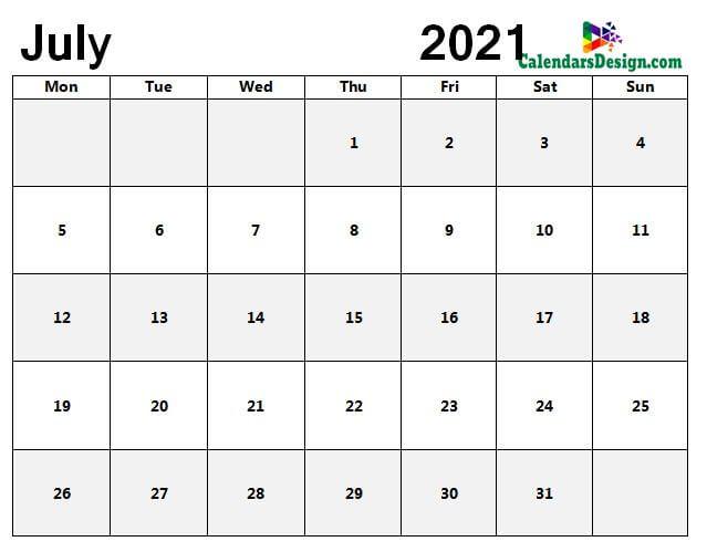 Jul 2021 blank calendar