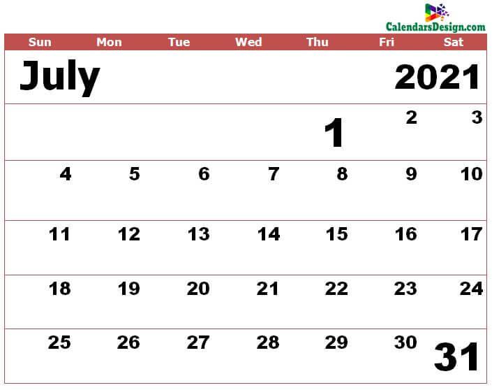 Jul 2021 calendar excel