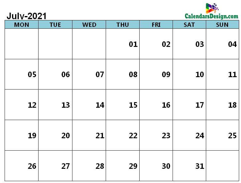 Jul 2021 calendar page