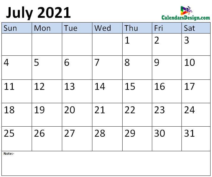Jul 2021 calendar template
