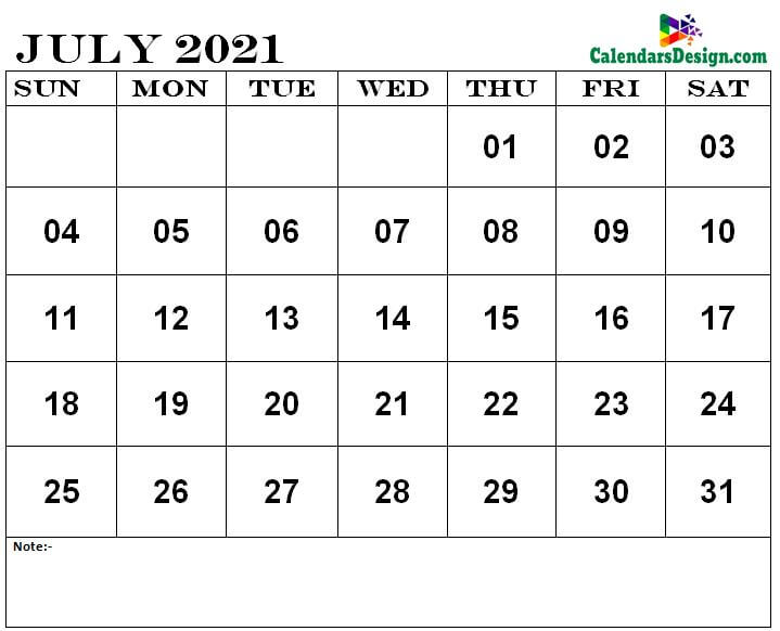 Jul 2021 printable calendar