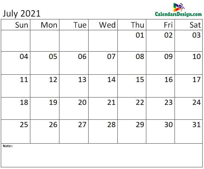 Jul calendar 2021 monthly template