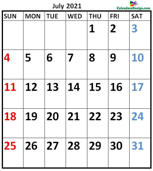 July 2021 Calendar A4 Size