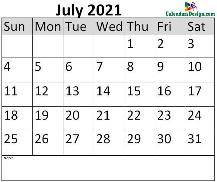 July 2021 Calendar Blank Template