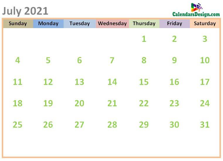 July 2021 Calendar Cute Designs