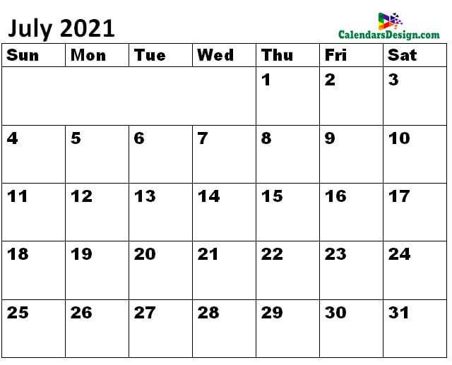 July 2021 Calendar Landscape