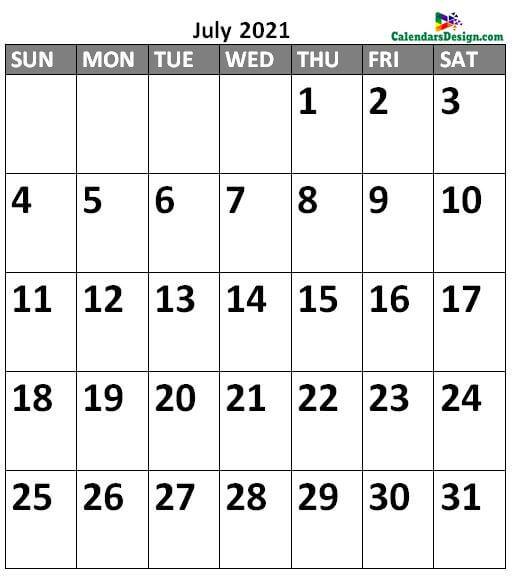 July 2021 Calendar Portrait