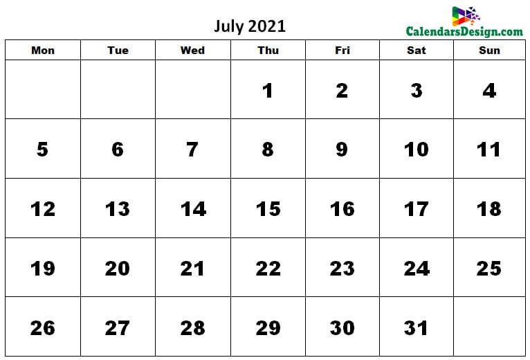 July 2021 Calendar UK
