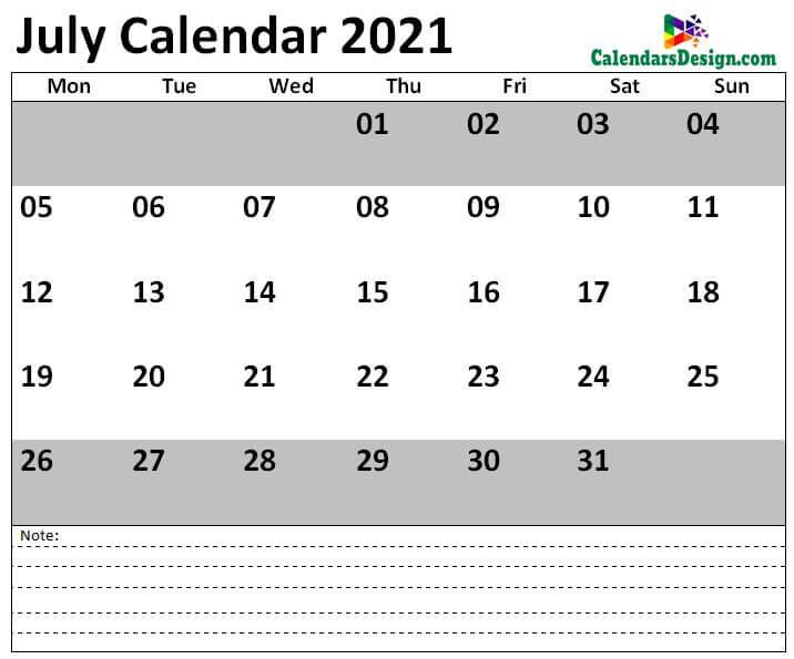 July 2021 Calendar USA With Holidays