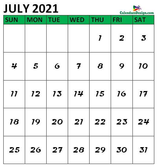 July 2021 Calendar Vertical
