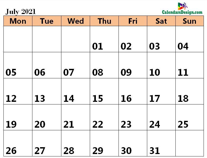 July 2021 Calendar Word Doc
