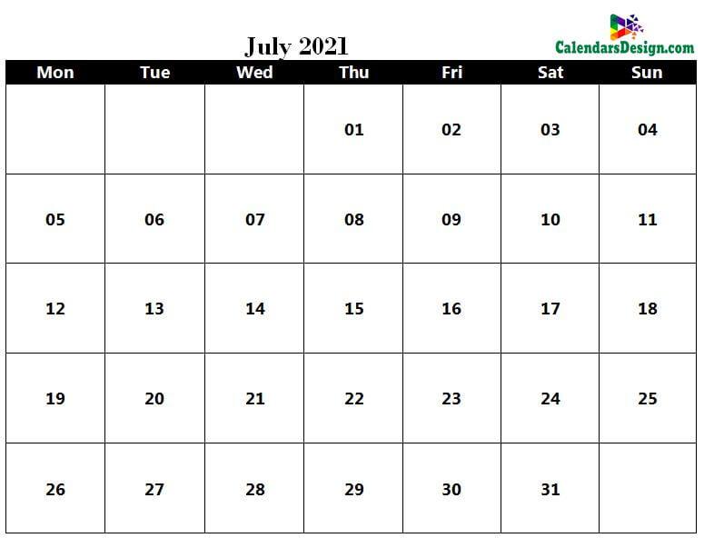 July 2021 Calendar in PDF
