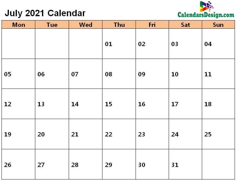 July 2021 Calendar in Page