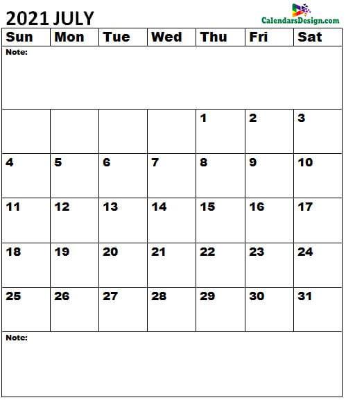 July 2021 Calendar notes