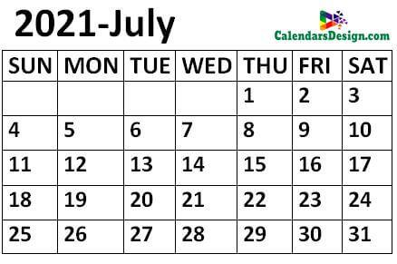 July 2021 Calendar small size