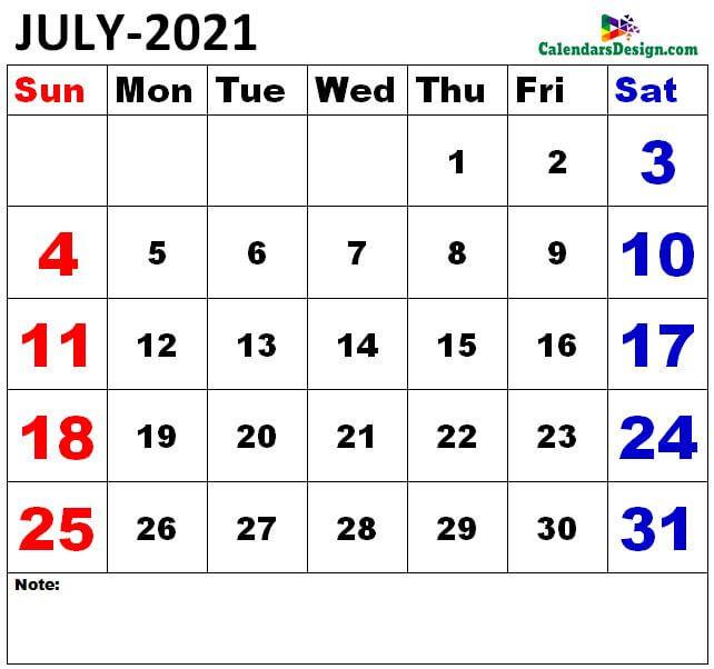 July 2021 Calendar to edit