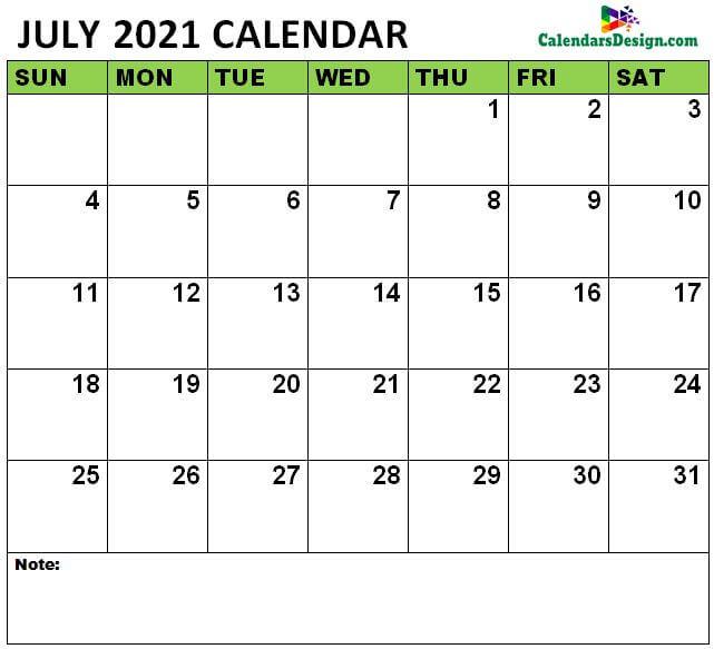 July 2021 Calendar xls