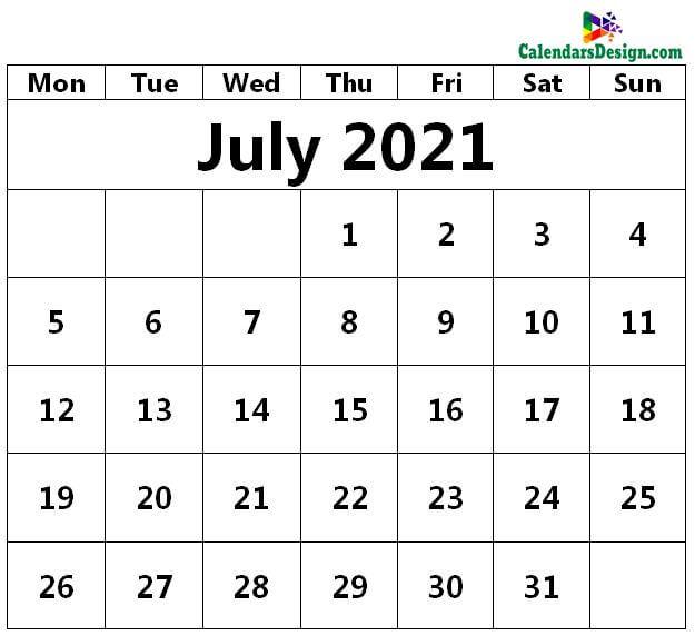 July 2021 Printable Blank Calendar