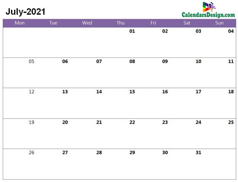 July 2021 a4 calendar