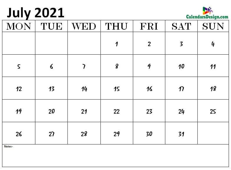 July 2021 calendar img