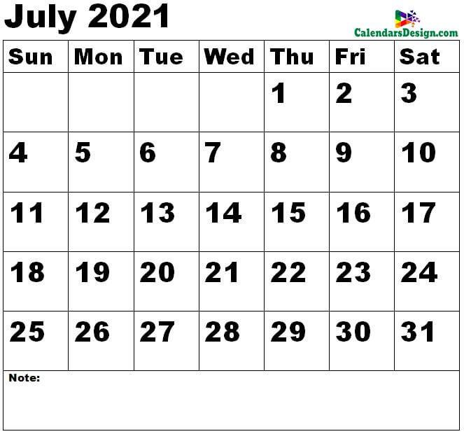 July 2021 calendar large size